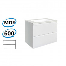 600x460x550mm Wall Hung Bathroom Floating Vanity GLOSSY WHITE Double Drawers Cabinet ONLY&Ceramic/Poly Top Available