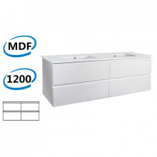 1200x460x550mm Wall Hung Bathroom Floating Vanity GLOSSY White 4 Drawers Cabinet ONLY&Double Bowls Ceramic Top Available