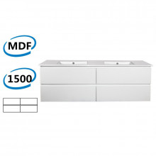 1500x460x550mm Wall Hung Bathroom Floating Vanity GLOSSY White 4 Drawers Cabinet ONLY&Double Bowls Ceramic Top Available