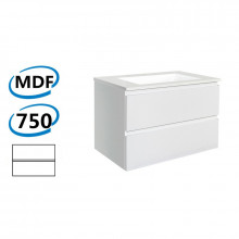 750x460x550mm Wall Hung Bathroom Floating Vanity GLOSSY White Double Drawers Cabinet ONLY&Ceramic/Poly Top Available
