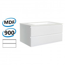 900x460x550mm Wall Hung Bathroom Floating Vanity GLOSSY White Double Drawers Cabinet ONLY&Ceramic/Poly Top Available