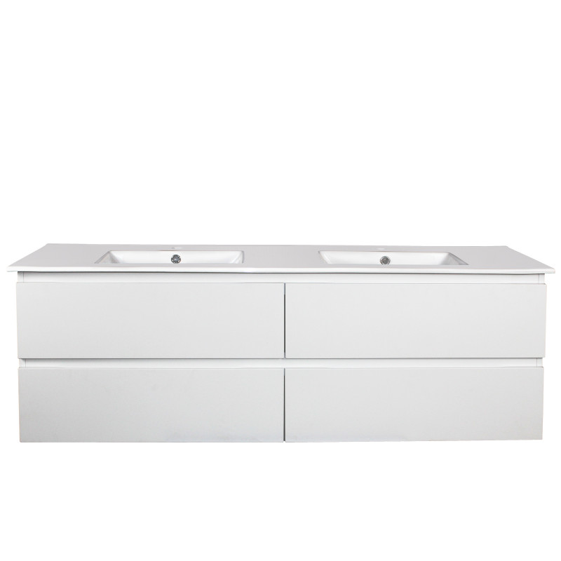 1200mm Wall Hung Vanity GLOSSY White 4 Drawers PW1246W-D