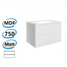 750x450x550mm Wall Hung Bathroom Floating Vanity Matt White PVC Vacuum Filmed Double Drawers Cabinet ONLY& Ceramic/Poly Top Available