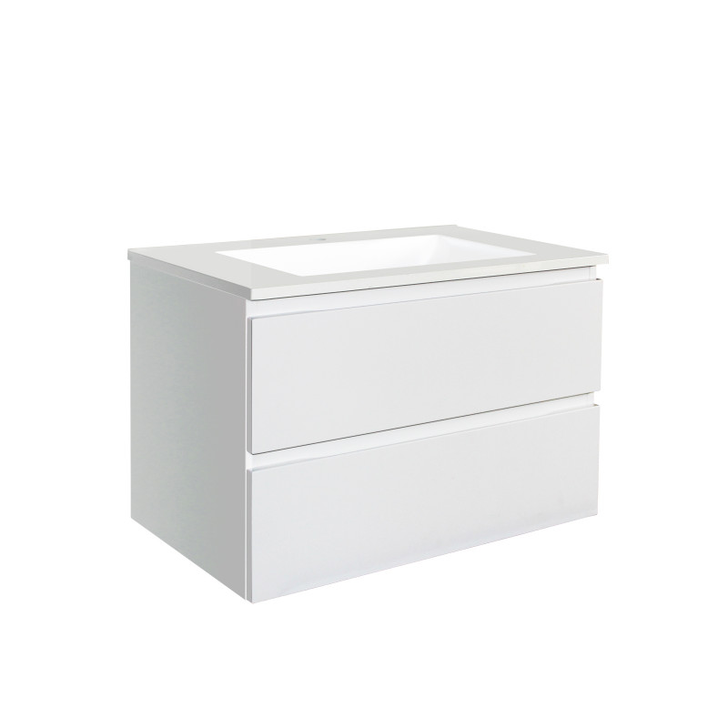 750mm Wall Hung Bathroom Floating Vanity Matt White