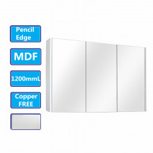 1200Lx720Hx150Dmm Matt White PVC Filmed Shaving Cabinet With Copper Free Mirror Wall Hung