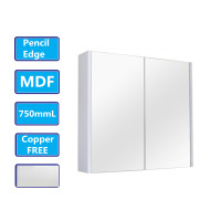 750Lx720Hx150Dmm Matt White PVC Filmed Shaving Cabinet With Copper Free Mirror Wall Hung