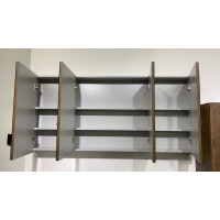 1500Lx720Hx150Dmm Dark Grey Wood Grain PVC Filmed Shaving Cabinet With Mirror Wall Hung