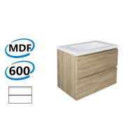 600x450x550mm Wall Hung Bathroom Floating Vanity Wood Grain White Oak PVC Filmed Cabinet ONLY&Ceramic/Poly Top Available