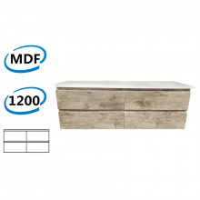 1200x450x550mm Wall Hung Bathroom Floating Vanity White Oak Wood Grain PVC Filmed 4 Drawers Cabinet ONLY &Double Bowls Ceramic Top Available