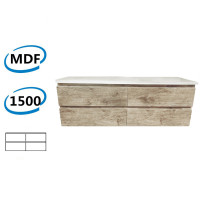 1500x450x550mm Wall Hung Bathroom Floating Vanity White Oak Wood Grain PVC Filmed 4 Drawers Cabinet ONLY & Double Bowls Ceramic Top Available