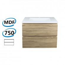 750x450x550mm Wall Hung Bathroom Floating Vanity White Oak Wood Grain PVC Filmed Cabinet ONLY&Ceramic/Poly Top Available