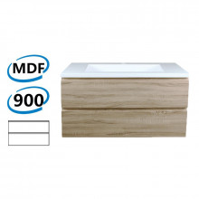 900x450x550mm Wall Hung Bathroom Floating Vanity White Oak Wood Grain PVC Filmed Cabinet ONLY&Ceramic/Poly Top Available