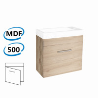 500x250x520mm Wall Hung Bathroom Floating Vanity with Ceramic Top White Oak Wood Grain One Tap Hole