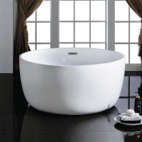 1350x1350x620mm Ronda Round Bathtub Freestanding Acrylic Gloss White Bath tub With Overflow