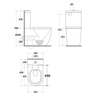 630x365x840mm Rola Short Projection Toilet Suite Ceramic White Box Rim Back To Wall Faced Standard UF Seat