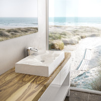 815x465x130mm Dune Above Counter Basin White or Black Glossy Wash Basin Sani-Quartz Composite High-end