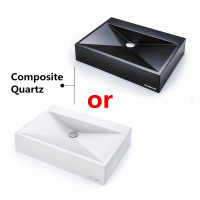 615x445x130mm Above Counter Basin White or Black Glossy Bathroom Wash Basin Sani-Quartz Composite Golden Cut