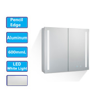 MACHO 600Lx720Hx135Dmm Pencil Edge LED Shaving Cabinet with Mirror Touch Sensor Switch Wall Hung Aluminum