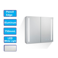 MACHO 750Lx720Hx135Dmm Pencil Edge LED Shaving Cabinet with Mirror Touch Sensor Switch Wall Hung Aluminum