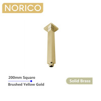 Norico Esperia 200mm Square Brushed Yellow Gold Ceiling Shower Arm Solid Brass