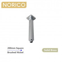 Norico Esperia 200mm Square Brushed Nickel Ceiling Shower Arm Solid Brass