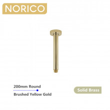 Norico 200mm Round Brushed Yellow Gold Ceiling Shower Arm Solid Brass