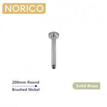 Norico 200mm Round Brushed Nickel Ceiling Shower Arm Solid Brass