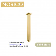 Norico Esperia 400mm Square Brushed Yellow Gold Ceiling Shower Arm Solid Brass