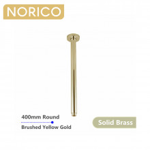 Norico 400mm Ceiling Shower Arm Round Brushed Yellow Gold Solid Brass