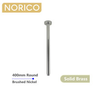 Norico 400mm Ceiling Shower Arm Round Brushed Nickel Solid Brass