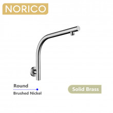 Norico Round Brushed Nickel Shower Arm Wall Mounted Solid Brass
