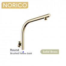 Norico Round Brushed Yellow Gold Shower Arm Wall Mounted Solid Brass