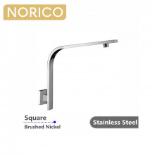 Norico Square Brushed Nickel Gooseneck Shower Arm Wall Mounted Stainless Steel