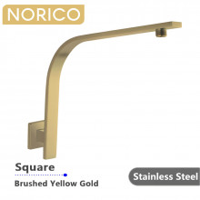 Norico Square Brushed Yellow Gold Gooseneck Shower Arm Wall Mounted Stainless Steel
