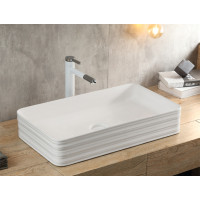 675x380x120mm Rectangle Peerless Rim Edge Ceramic Above Counter Basin Bathroom Gloss White Wash Basin