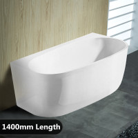 1400x810x580mm Hunter Back to Wall Bathtub Acrylic GLOSS White Egg Shape NO Overflow