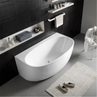 1700mm Hunter Back to Wall Bathtub Acrylic GLOSS White Egg Shape NO Overflow
