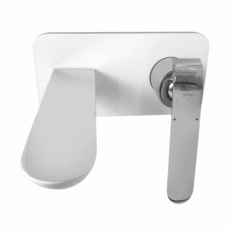 SPRING White & Chrome Bathtub/Basin Wall Mixer With SpoutSM-EVA-BZ14375JW