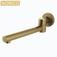 Norico Round Brushed Yellow Gold Brass Wall Spout with 180 Swivel for bathtub