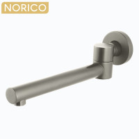 Norico Round Brushed Nickel Brass Wall Spout with 180 Swivel for bathtub