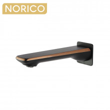 Norico Esperia Matt Black & Rose Gold Bathtub Spout Basin Water Spout Wall Spout Brass