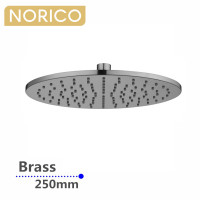 Norico 250mm 10 inch Solid Brass Brushed Nickel Round Rainfall Shower Head