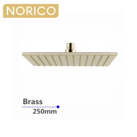 Norico Esperia 10 inch 250mm Square Solid Brass Brushed Yellow Gold Rainfall Shower Head