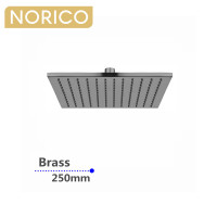 Norico Esperia 10 inch 250mm Square Solid Brass Brushed Nickel Rainfall Shower Head