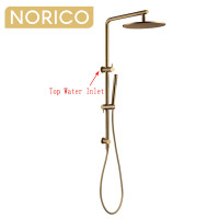 Norico 10 inch 250mm Round Brushed Yellow Gold Twin Shower Station Top Inlet