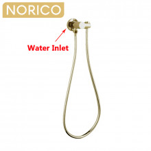 Norico Round Brushed Yellow Gold Shower Holder Wall Connector & Hose Only