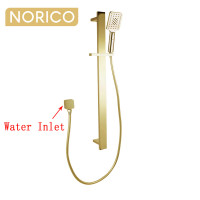 Norico Esperia Square Brushed Yellow Gold Shower Rail with 3 Mode Handheld Shower Set