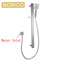 Norico Esperia Square Brushed Nickel Shower Rail with 3 Mode Handheld Shower Set