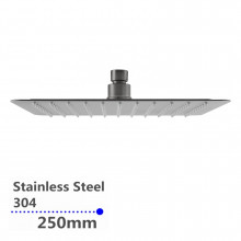 """250mm 10"""" Stainless Steel 304 Brushed Super-slim Square Rainfall Shower Head"""