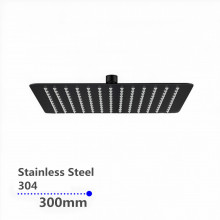 "300mm 12"" Stainless Steel 304 Black Surface Super-slim Square Rainfall Shower Head"